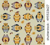 seamless pattern with owls ... | Shutterstock .eps vector #495523627