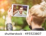 young couple in love chatting... | Shutterstock . vector #495523807