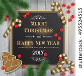 christmas background with... | Shutterstock .eps vector #495524515
