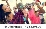 diverse young people fun beach... | Shutterstock . vector #495529609