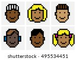 cute african american faces in... | Shutterstock .eps vector #495534451