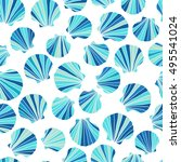 round blue seashells. seamless... | Shutterstock . vector #495541024
