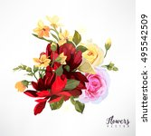 bouquet of roses  watercolor ... | Shutterstock .eps vector #495542509