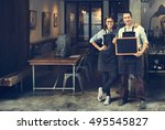 couple barista coffee shop... | Shutterstock . vector #495545827