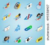 isometric seo set icons....