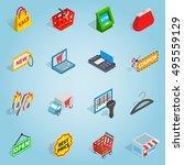 isometric shopping set icons....