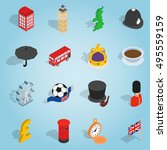 isometric britain icons set.... | Shutterstock . vector #495559159