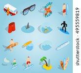 isometric surfing icons set....