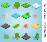 isometric landscape icons set....