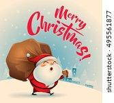 merry christmas  vintage... | Shutterstock .eps vector #495561877