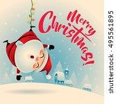 merry christmas  vintage... | Shutterstock .eps vector #495561895