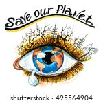 save our planet watercolor eco... | Shutterstock . vector #495564904