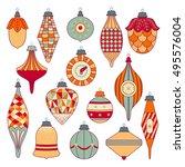 cute christmas tree toys set....   Shutterstock .eps vector #495576004