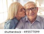portrait of handsome old man... | Shutterstock . vector #495577099