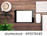 digital tablet blank screen on... | Shutterstock . vector #495578185