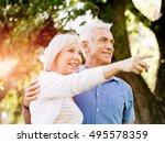 senior couple relaxing in park | Shutterstock . vector #495578359