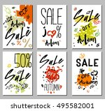 autumn sale card  illustration. ... | Shutterstock .eps vector #495582001