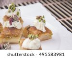 arabic desserts with cream... | Shutterstock . vector #495583981