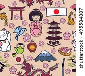 japan cartoon icons seamless... | Shutterstock . vector #495584887