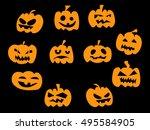 halloween pumpkin vector icons...   Shutterstock .eps vector #495584905