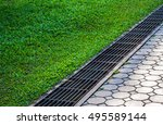 waterway and road   grass.... | Shutterstock . vector #495589144
