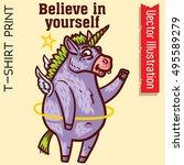 unicorn   believe in yourself.... | Shutterstock .eps vector #495589279