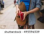 a young woman is standing in... | Shutterstock . vector #495596539