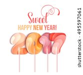 sign new year 2017 in shape of... | Shutterstock .eps vector #495597061