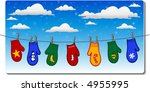 christmas mittens on...   Shutterstock .eps vector #4955995