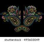 Neckline Ethnic Design. Floral...