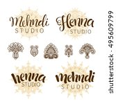 vector illustration of mehndi... | Shutterstock .eps vector #495609799