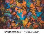colored stains of paint on the... | Shutterstock . vector #495610834