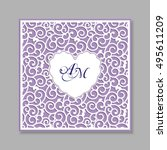 a square panel with lace... | Shutterstock .eps vector #495611209