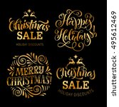 vector set with christmas... | Shutterstock .eps vector #495612469