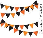 happy halloween background.... | Shutterstock .eps vector #495616111