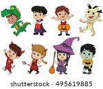 happy halloween. set of cute... | Shutterstock .eps vector #495619885