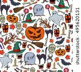 seamless pattern of halloween... | Shutterstock .eps vector #495620131