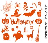 set of halloween icons. vector... | Shutterstock .eps vector #495620149