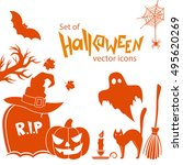 set of halloween icons. vector... | Shutterstock .eps vector #495620269