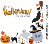 corner frame of halloween icons ... | Shutterstock .eps vector #495620425