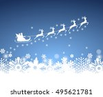 santa claus in sled rides in... | Shutterstock . vector #495621781