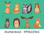 vector illustration of cute... | Shutterstock .eps vector #495622561