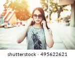 urban vintage portrait of... | Shutterstock . vector #495622621