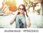 urban vintage portrait of...   Shutterstock . vector #495622621