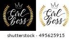 girl boss card vector...   Shutterstock .eps vector #495625915