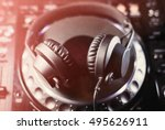 headphones on cd music disc... | Shutterstock . vector #495626911
