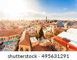 old city of jerusalem with the... | Shutterstock . vector #495631291