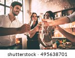 cheers  low angle view of... | Shutterstock . vector #495638701
