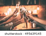 cheers  group of people... | Shutterstock . vector #495639145