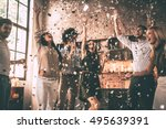 confetti fun. group of happy... | Shutterstock . vector #495639391